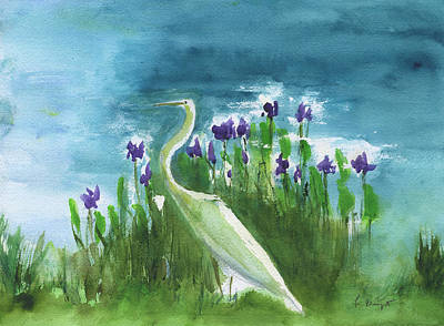 Painting - Backyard Egret by Frank Bright