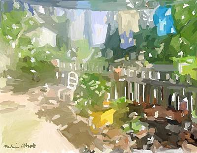 Painting - Backyard Fence And Laundry by Melissa Abbott