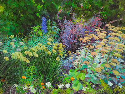 Painting - Backyard Flowerbed by Judith Barath