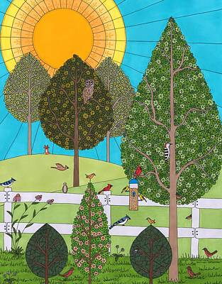 Drawing - Backyard Gathering by Pamela Schiermeyer