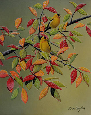 Painting - Backyard Goldfinches by Don Engler