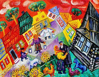 Roussimoff Wall Art - Painting - Backyard Gossip by Ari Roussimoff