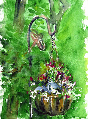 Painting - Backyard Hanging Plant by John D Benson