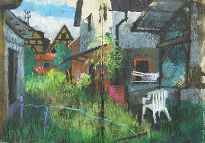 Painting - Backyard Idyll,oil Pastel Sketchbook by Martin Stankewitz