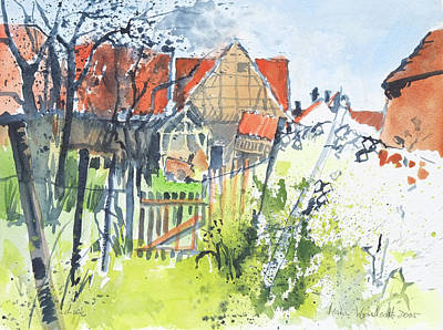 Painting - backyard idyll,Schmie,framework houeses and garden by Martin Stankewitz