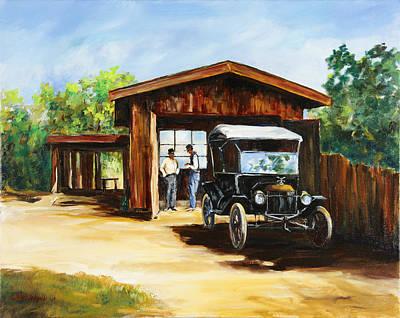 Model T Ford Painting - Backyard Mechanics by Gary Wynn