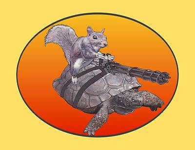 Digital Art - Backyard Modern Warfare Crazy Squirrel by David MCKINNEY