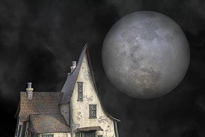 Cloudy Mixed Media - Backyard Moon Super Realistic  by Betsy Knapp