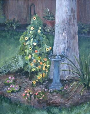 Of My Backyard With Bird Bath Painting - Backyard by Paula Pagliughi