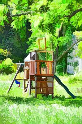 Ladder Back Chairs Painting - Backyard With Wooden Playground  by Lanjee Chee