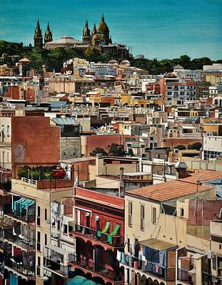 Painting - Backyards Of Barcelona by Robert W Cook