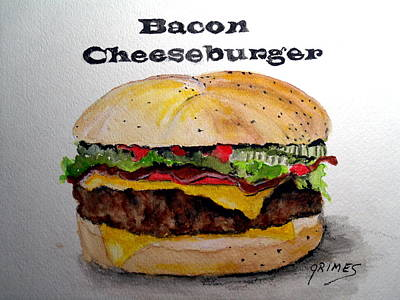 Painting - Bacon Cheeseburger by Carol Grimes