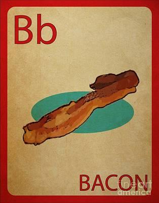 Bacon Vintage Style Flashcard Art Print by Mynameisjz JZ