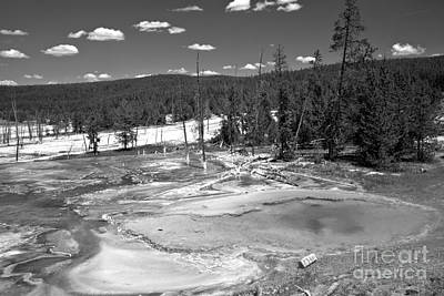 Photograph - Bacterial Mats At Firehole Spring Black And White by Adam Jewell