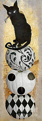 Hallows Painting - Bad Cat Halloween by Mindy Sommers