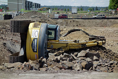 Backhoe Photograph - Bad Day At The Office . . . by Daniel Hagerman