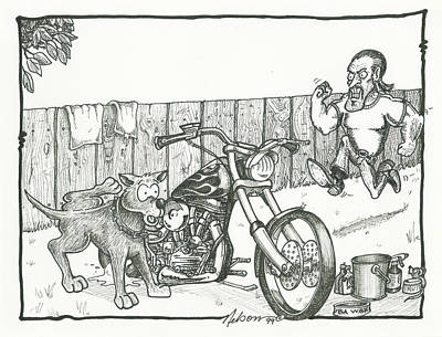 Dave Drawing - Bad Dog by David T Nelson