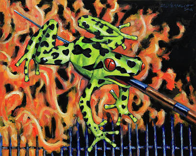 Painting - Bad Froggy In Hell by John Lautermilch