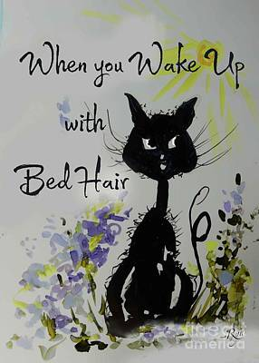 Painting - Bed Hair Day Cat by Ryn Shell
