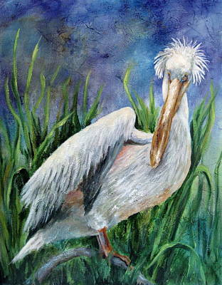 Painting - Bad Hair Day-pelican by Mary McCullah