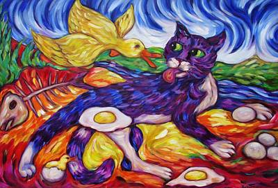 Painting - Bad Kitty Gets Caught Again by Dianne  Connolly
