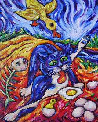 Painting - Bad Kitty Gets Caught by Dianne  Connolly
