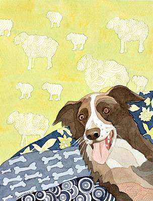 Painting - Bad to the Bone Sheepdog Painting by Ezartesa Art