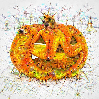 Mixed Media - Bad Trip - Orange Deep Dream Creature by Matthias Hauser