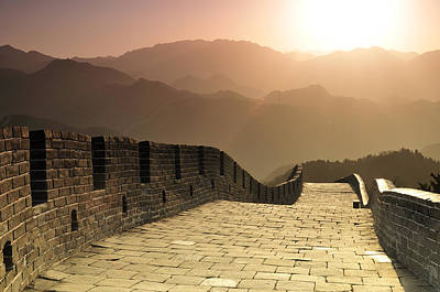 Sunrise Photograph - Badaling Great Wall, Beijing by Huang Xin