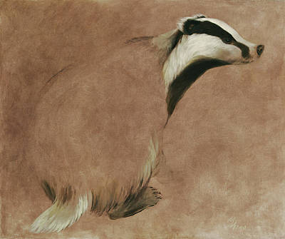 Painting - Badger by Attila Meszlenyi
