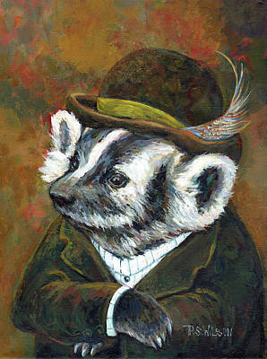 Painting - Badger With Bowler by Peggy Wilson