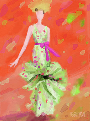 Woman Painting - Badgley Mischka Green Dress Fashion Illustration by Beverly Brown Prints