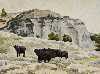 Abstract Realist Landscape Painting - Badland Cows #2 by Dale Beckman