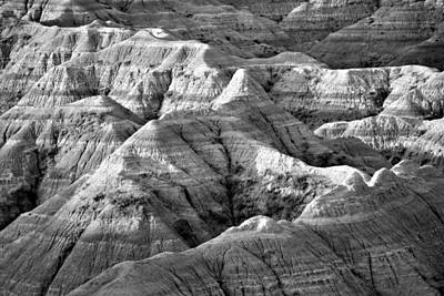 Photograph - Badland Stripes Bw 2 by Bonfire Photography