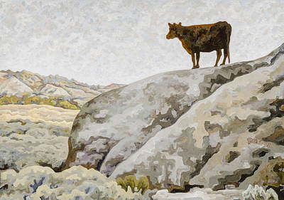 State Of Montana Painting - Badlands Cow by Dale Beckman