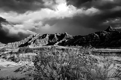 Photograph - Badlands Desert Bw by Bonfire Photography