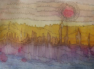 Desert Sunset Drawing - Badlands by LinMarie Surface