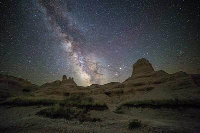 Photograph - Badlands Milky Way Happy Astronomy Day by Aaron J Groen