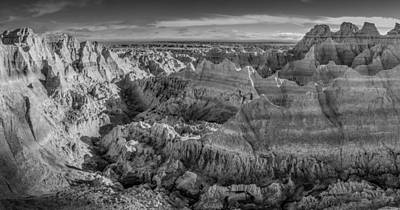 Photograph - Badlands National Park In Black And White by Ray Van Gundy