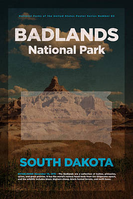 Badlands National Park In South Dakota Travel Poster Series Of National Parks Number 03 Art Print