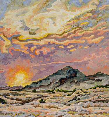 State Of Montana Painting - Badlands Sunset by Dale Beckman