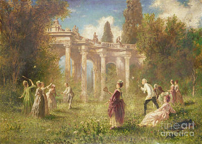 Summer Sports Painting - Badminton Players by Johan Friedrich Hennings