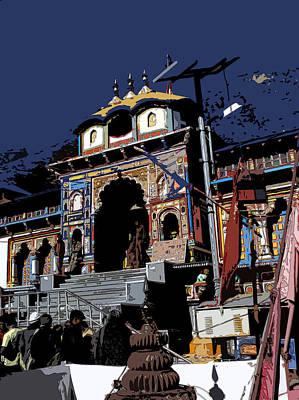 Badrinath Temple 1 Art Print by Padamvir Singh