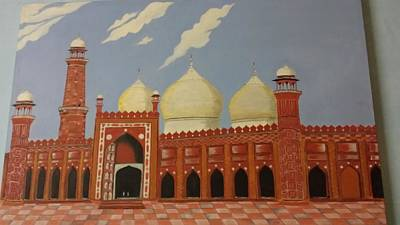 On Cavas Painting - Badshahi Masjid by Nisar A