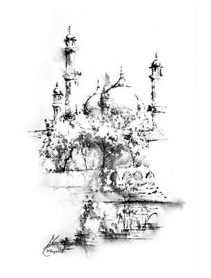 Nca Painting - Badshahi Mosque Lahore by MKazmi Syed