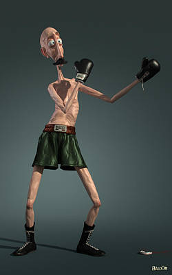 Full-length Portrait Digital Art - Baffi Storto - The Italian Boxer by BaloOm Studios