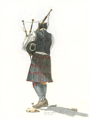 Painting - Bag Piper On A Maine Beach by Dominic White