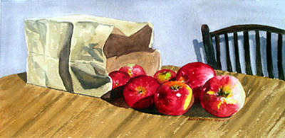 Bag With Apples Art Print by Anne Trotter Hodge