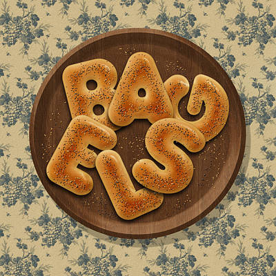 Food And Beverage Digital Art - Bagels by La Reve Design