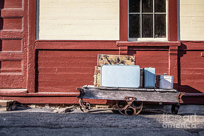 Photograph - Baggage Cart At An Old Train Station by Edward Fielding